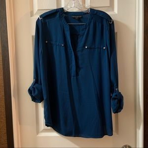 Simply Styled Teal Blue V Neck 3/4 Sleeve Blouse L